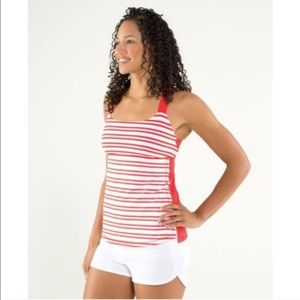 Lululemon track and train red & white striped tank